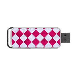 Square2 White Marble & Pink Leather Portable Usb Flash (two Sides) by trendistuff