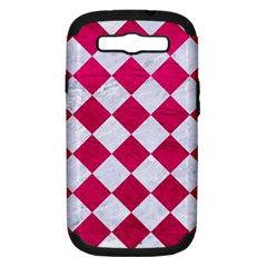 Square2 White Marble & Pink Leather Samsung Galaxy S Iii Hardshell Case (pc+silicone) by trendistuff