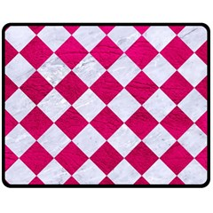 Square2 White Marble & Pink Leather Double Sided Fleece Blanket (medium)  by trendistuff