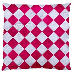 Square2 White Marble & Pink Leather Large Flano Cushion Case (one Side) by trendistuff