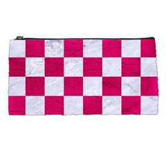Square1 White Marble & Pink Leather Pencil Cases by trendistuff