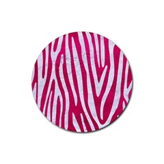 Skin4 White Marble & Pink Leather (r) Rubber Coaster (round)  by trendistuff