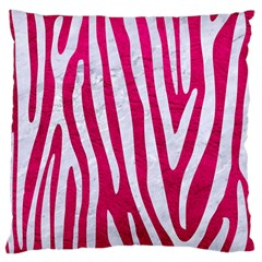 Skin4 White Marble & Pink Leather (r) Large Cushion Case (one Side) by trendistuff