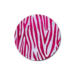 Skin4 White Marble & Pink Leather Rubber Coaster (round)  by trendistuff