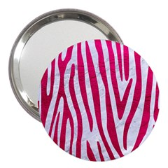 Skin4 White Marble & Pink Leather 3  Handbag Mirrors by trendistuff