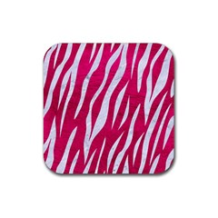 Skin3 White Marble & Pink Leather Rubber Square Coaster (4 Pack)  by trendistuff