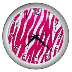 Skin3 White Marble & Pink Leather Wall Clocks (silver)  by trendistuff