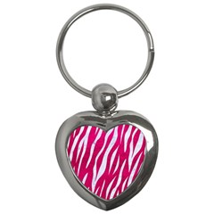 Skin3 White Marble & Pink Leather Key Chains (heart)  by trendistuff