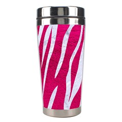 Skin3 White Marble & Pink Leather Stainless Steel Travel Tumblers by trendistuff