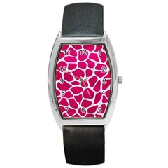 Skin1 White Marble & Pink Leather (r) Barrel Style Metal Watch by trendistuff