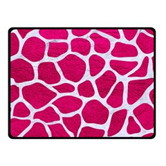 Skin1 White Marble & Pink Leather (r) Fleece Blanket (small) by trendistuff