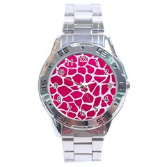 Skin1 White Marble & Pink Leather (r) Stainless Steel Analogue Watch by trendistuff