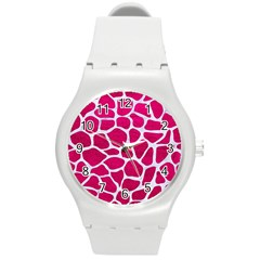 Skin1 White Marble & Pink Leather (r) Round Plastic Sport Watch (m) by trendistuff