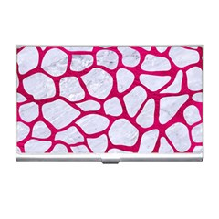 Skin1 White Marble & Pink Leather Business Card Holders by trendistuff