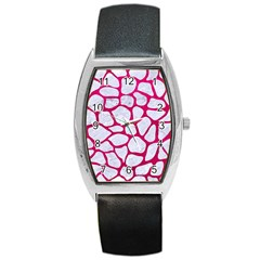 Skin1 White Marble & Pink Leather Barrel Style Metal Watch by trendistuff