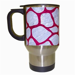Skin1 White Marble & Pink Leather Travel Mugs (white) by trendistuff