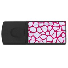 Skin1 White Marble & Pink Leather Rectangular Usb Flash Drive by trendistuff