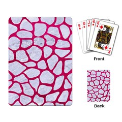 Skin1 White Marble & Pink Leather Playing Card by trendistuff