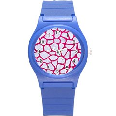 Skin1 White Marble & Pink Leather Round Plastic Sport Watch (s) by trendistuff