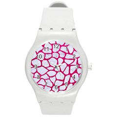 Skin1 White Marble & Pink Leather Round Plastic Sport Watch (m) by trendistuff
