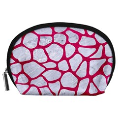 Skin1 White Marble & Pink Leather Accessory Pouches (large)  by trendistuff