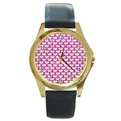Scales3 White Marble & Pink Leather (r) Round Gold Metal Watch by trendistuff