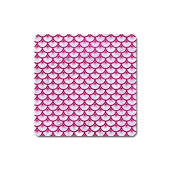 Scales3 White Marble & Pink Leather (r) Square Magnet by trendistuff