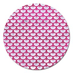Scales3 White Marble & Pink Leather (r) Magnet 5  (round) by trendistuff