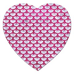 Scales3 White Marble & Pink Leather (r) Jigsaw Puzzle (heart) by trendistuff