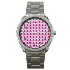 Scales3 White Marble & Pink Leather (r) Sport Metal Watch by trendistuff