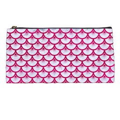 Scales3 White Marble & Pink Leather (r) Pencil Cases by trendistuff
