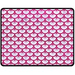 SCALES3 WHITE MARBLE & PINK LEATHER (R) Fleece Blanket (Medium)  60 x50 Blanket Front