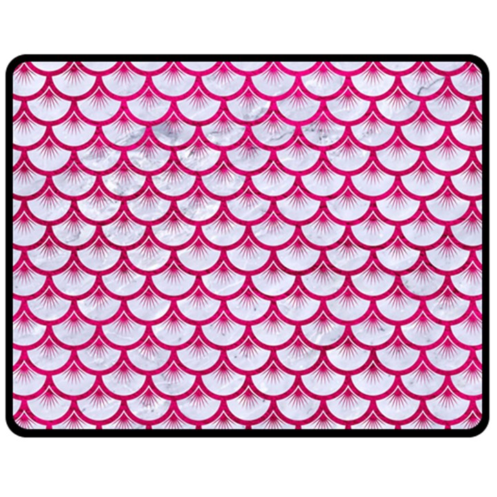 SCALES3 WHITE MARBLE & PINK LEATHER (R) Fleece Blanket (Medium)