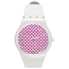 Scales3 White Marble & Pink Leather (r) Round Plastic Sport Watch (m) by trendistuff