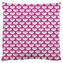 Scales3 White Marble & Pink Leather (r) Large Cushion Case (one Side) by trendistuff