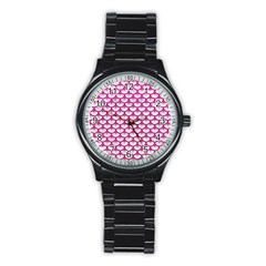 Scales3 White Marble & Pink Leather (r) Stainless Steel Round Watch by trendistuff