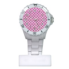 Scales3 White Marble & Pink Leather (r) Plastic Nurses Watch by trendistuff