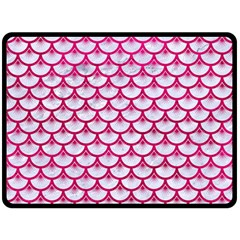 Scales3 White Marble & Pink Leather (r) Double Sided Fleece Blanket (large)  by trendistuff