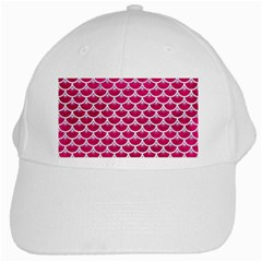 Scales3 White Marble & Pink Leather White Cap by trendistuff