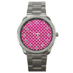 Scales3 White Marble & Pink Leather Sport Metal Watch by trendistuff