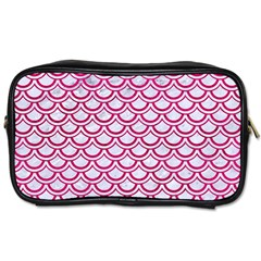 Scales2 White Marble & Pink Leather (r) Toiletries Bags by trendistuff