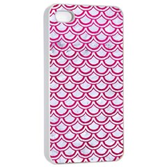 Scales2 White Marble & Pink Leather (r) Apple Iphone 4/4s Seamless Case (white) by trendistuff