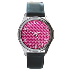 Scales2 White Marble & Pink Leather Round Metal Watch by trendistuff