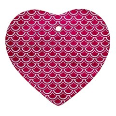 Scales2 White Marble & Pink Leather Ornament (heart) by trendistuff
