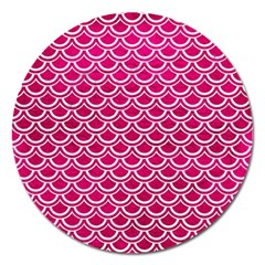 Scales2 White Marble & Pink Leather Magnet 5  (round) by trendistuff