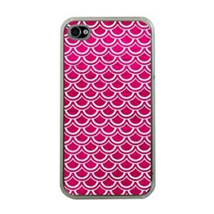 Scales2 White Marble & Pink Leather Apple Iphone 4 Case (clear) by trendistuff