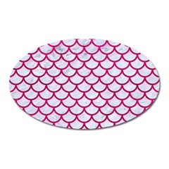 Scales1 White Marble & Pink Leather (r) Oval Magnet by trendistuff