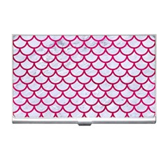Scales1 White Marble & Pink Leather (r) Business Card Holders by trendistuff