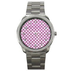Scales1 White Marble & Pink Leather (r) Sport Metal Watch by trendistuff