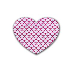 Scales1 White Marble & Pink Leather (r) Heart Coaster (4 Pack)  by trendistuff